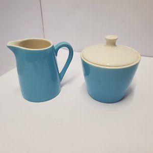 Pastel/robins egg blue Sugar bowl and creamer